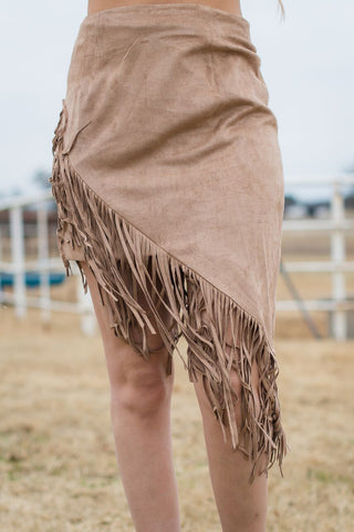 Suede Fringe Skirt - Rolling Ranch Boutique