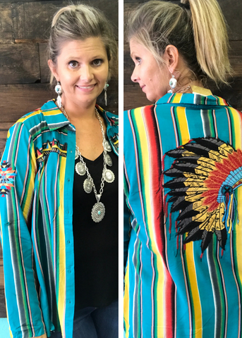 Serape Embroidered Button Down with Headress