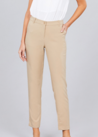 Classic Ankle Pants | Khaki - Rolling Ranch Boutique