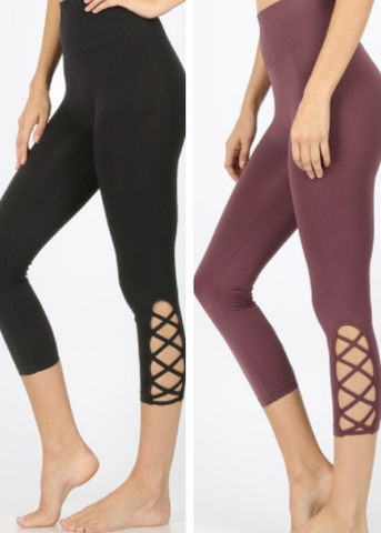 Lattice Capri Leggings | Black and Eggplant - Rolling Ranch Boutique