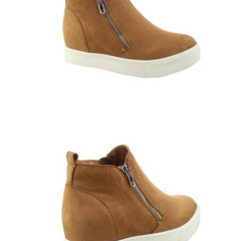 Double Zipper Wedge Sneakers | Tan *Final Sale*