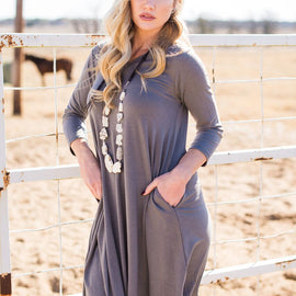 V Neck 3/4 Sleeve Pocket Dress Grey