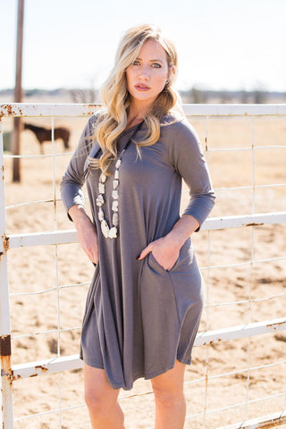 V Neck 3/4 Sleeve Pocket Dress Grey - Rolling Ranch Boutique