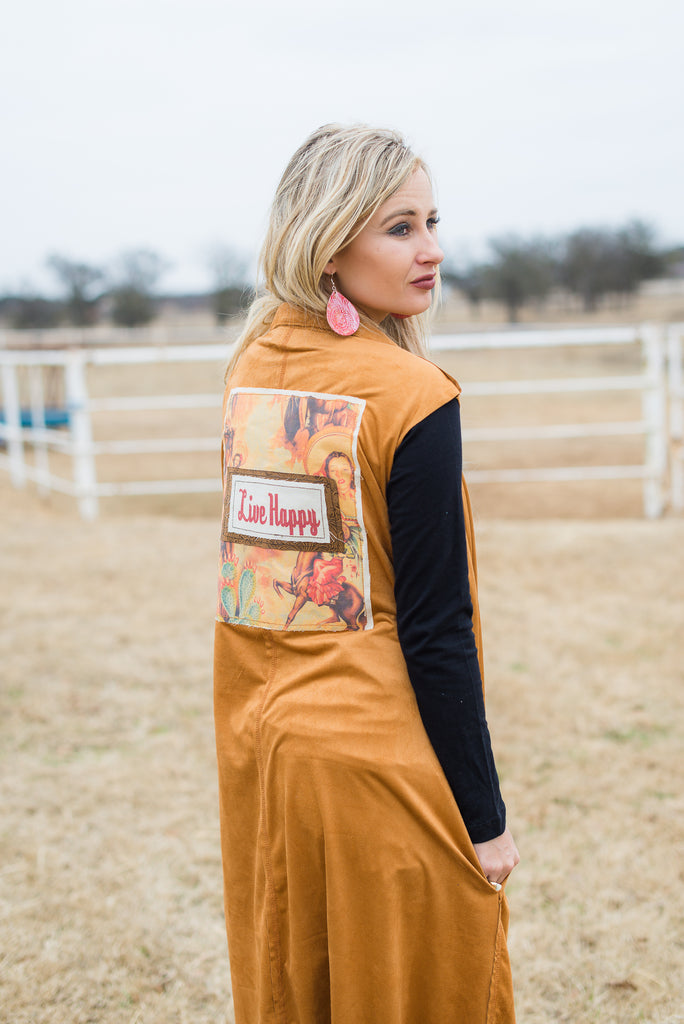 Vintage Cowgirl Long Suede Vest - Rolling Ranch Boutique