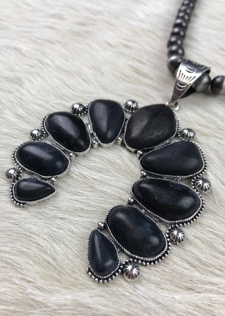 Silver Navajo Bead with Squash Pendant | Black