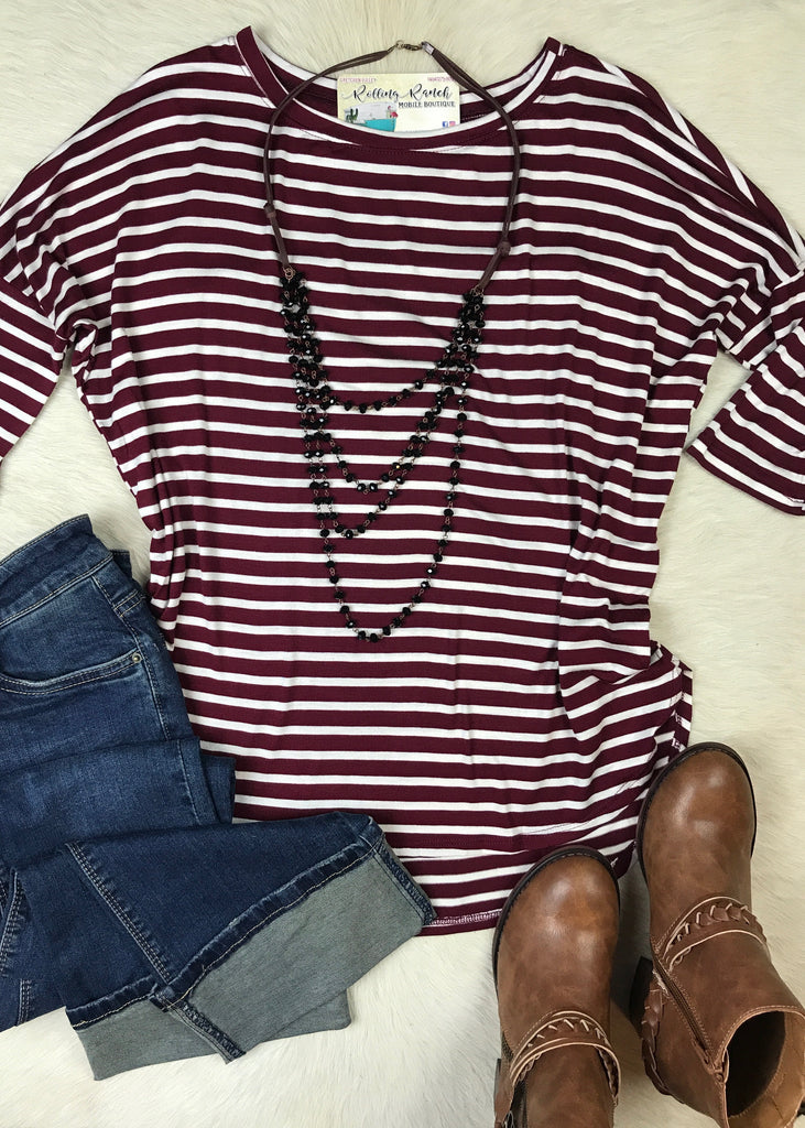 Striped 3/4 Dolman Sleeve | Maroon and White