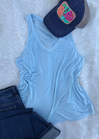 Basic V Neck Muscle Tank | Faded Denim - Rolling Ranch Boutique