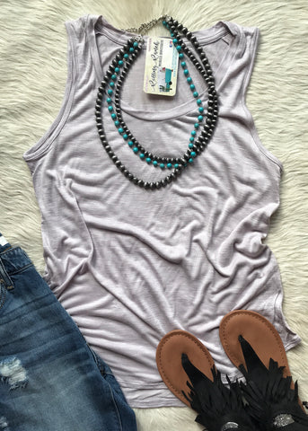Basic Muscle Tank | Lilac Grey - Rolling Ranch Boutique