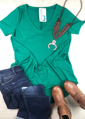 Daily V Neck | Forest Green