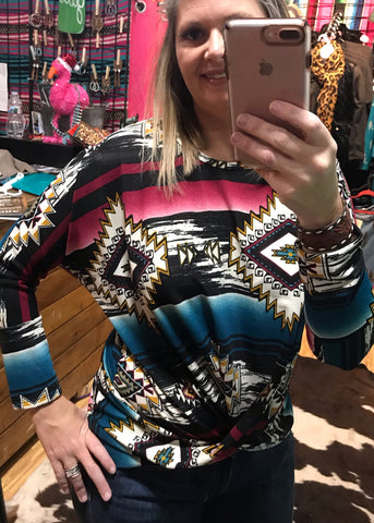 Aztec Dolman Sleeve Twist Front - Rolling Ranch Boutique