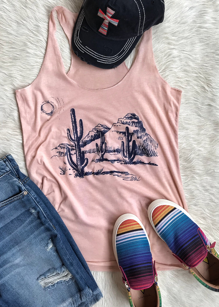 Desert Rose Cactus Tank - Rolling Ranch Boutique