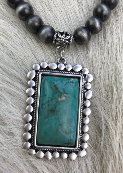 Rectangular Turquoise | Short Navajo Pearl Necklace