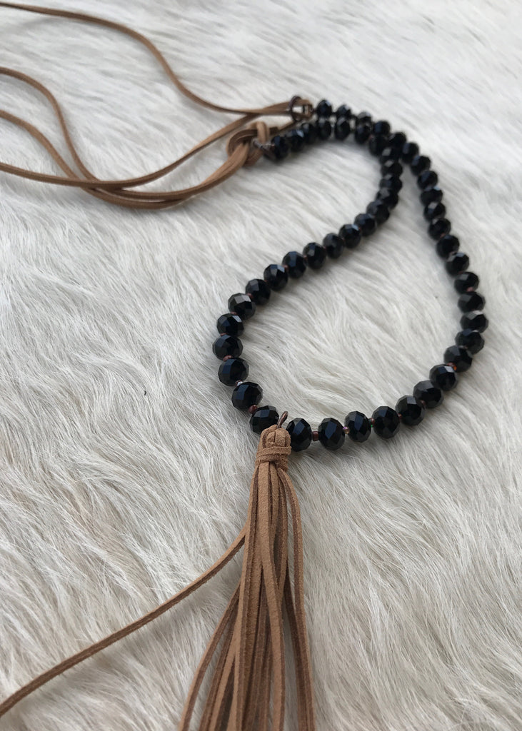 Beaded Tassel Necklace | Black - Rolling Ranch Boutique