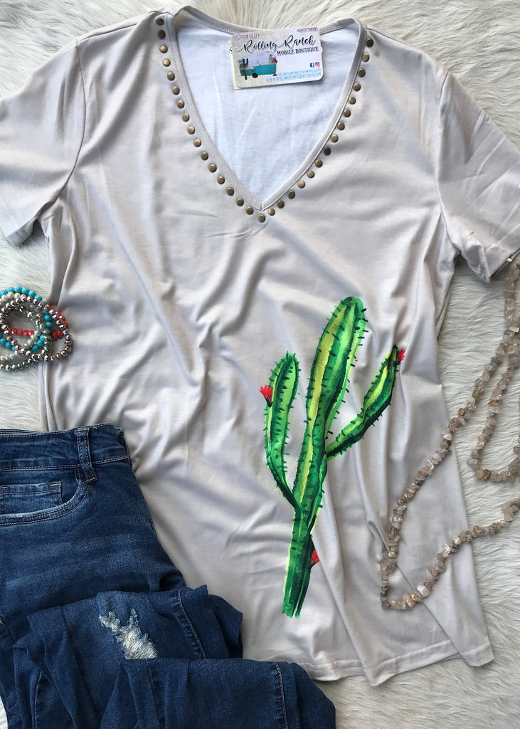 Cactus Studded V Neck - Rolling Ranch Boutique