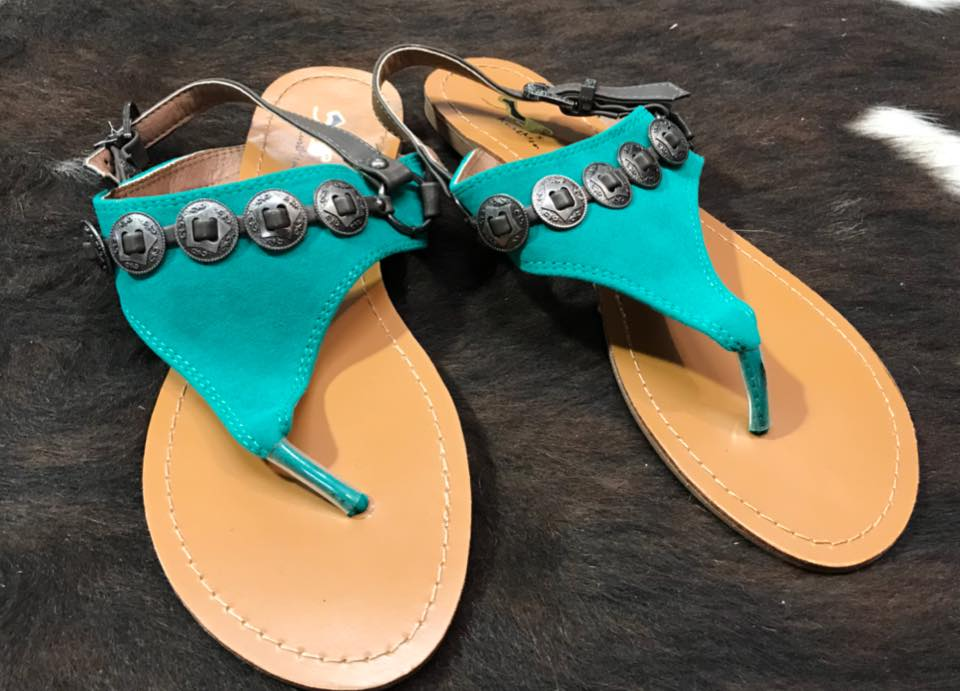 Turquoise Concho Sandals - Rolling Ranch Boutique