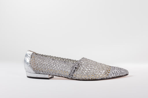 Vintage silver mesh slip-on shoes