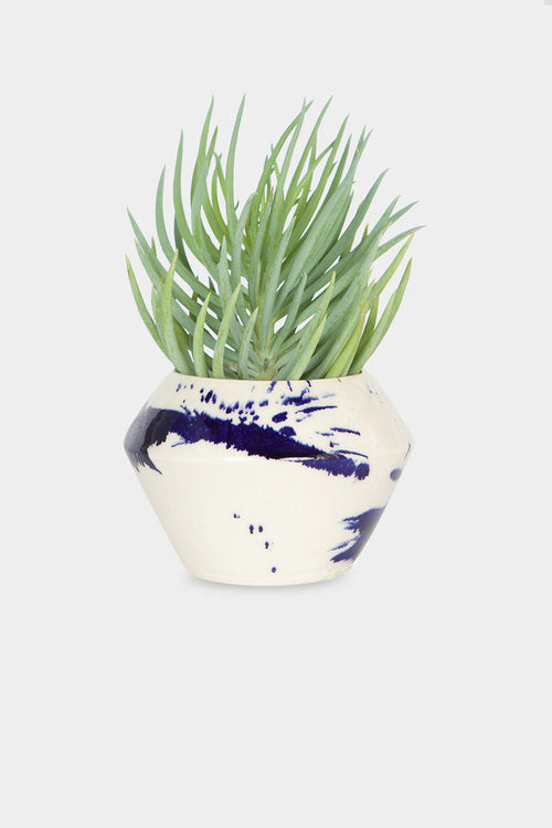 Blue splatter small planter