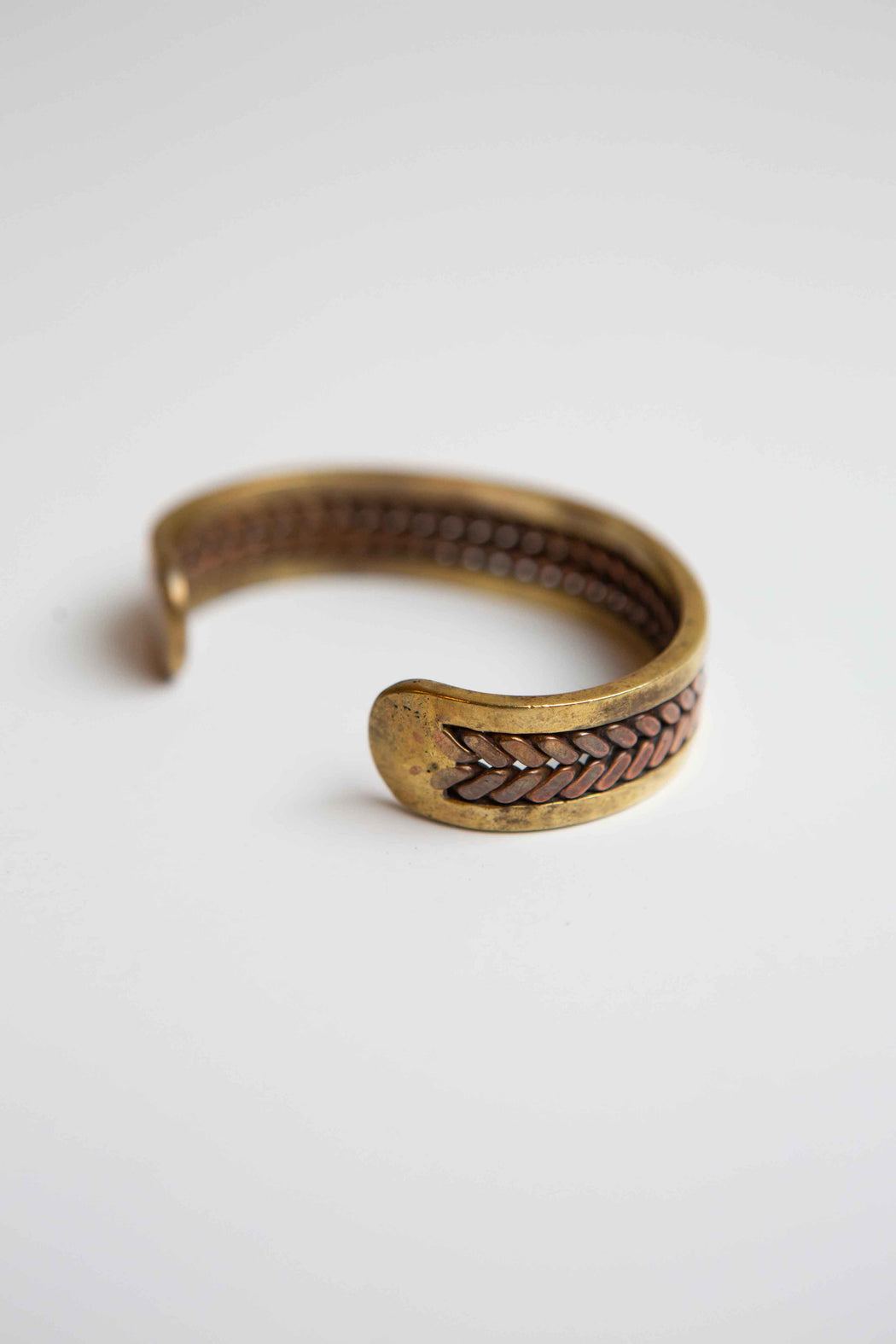 Vintage woven brass and copper bracelet
