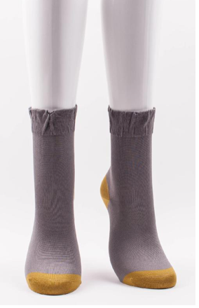 Silk two-color crew socks