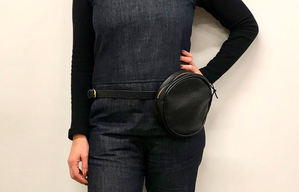 Round leather belt bag