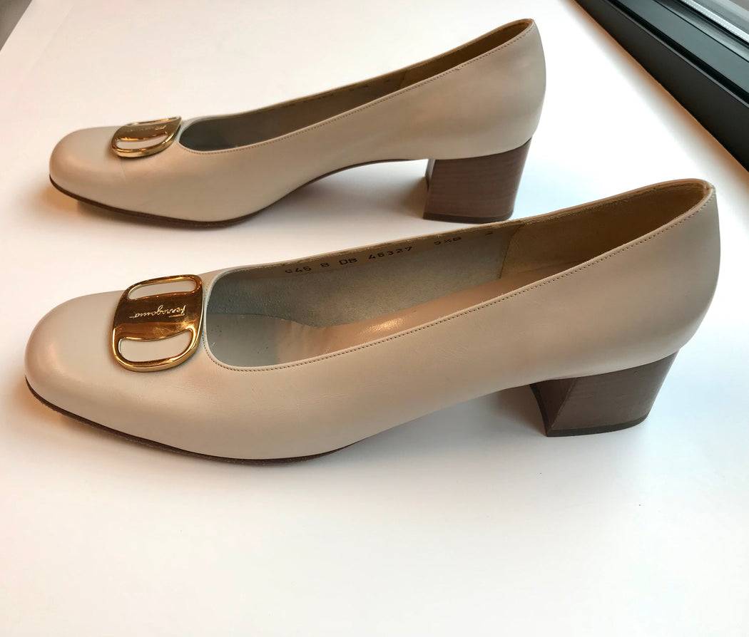 Vintage Salvatore Ferragamo Gift Shoes in Ivory