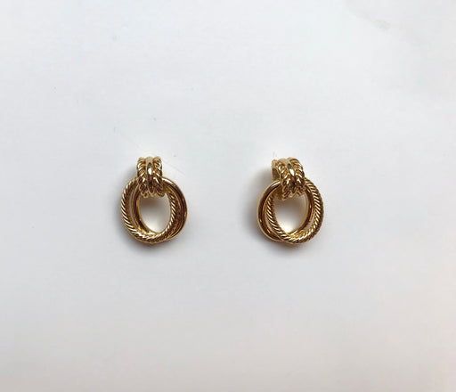 Braided gold link earrings