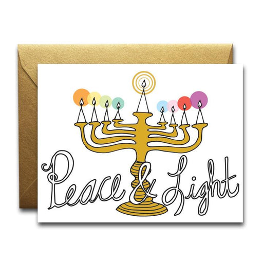 Peace & light Hanukkah card