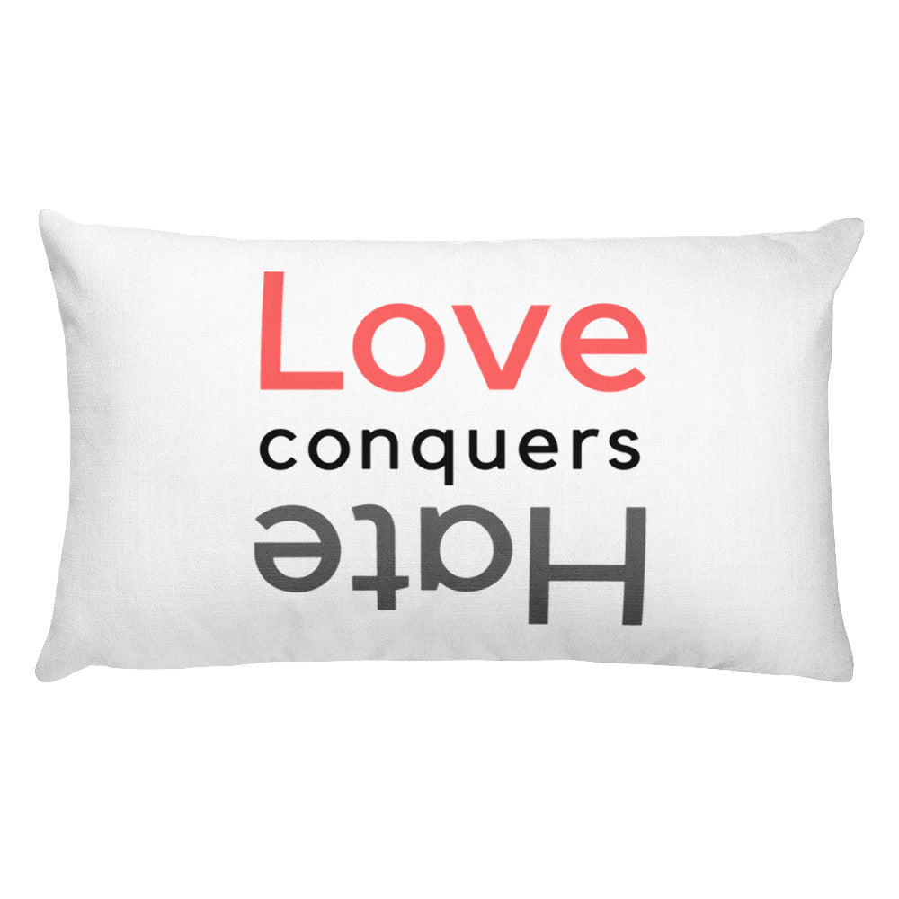 Love Conquers Hate Rectangular Pillow