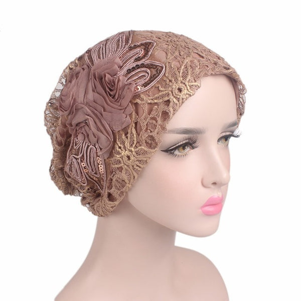 Luxury Embroidered Flower Headcovering