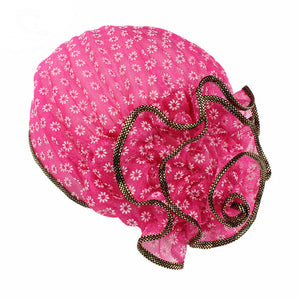 Women's Casual Muslim Hat Beautiful Lace Flowers Floral Head Scarf