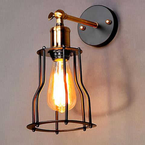 Wrought Iron Wall-Mounted Edison Bulb Sconce Lighting