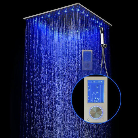 "24in 24"" HUGE Rainfall Shower System Best DIYHomeDiscounts LED Remote Stainless Steel Sprayer Hose"