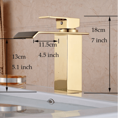 waterfall faucet gold measurements