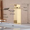 Image of waterfall faucet gold measurements