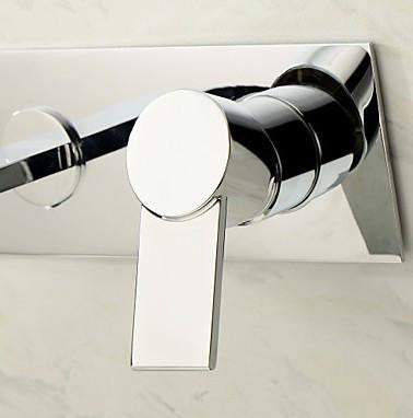 thin chrome wall mounted bathtub faucet