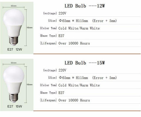 LED Bulbs from 3-15W; 4 pack