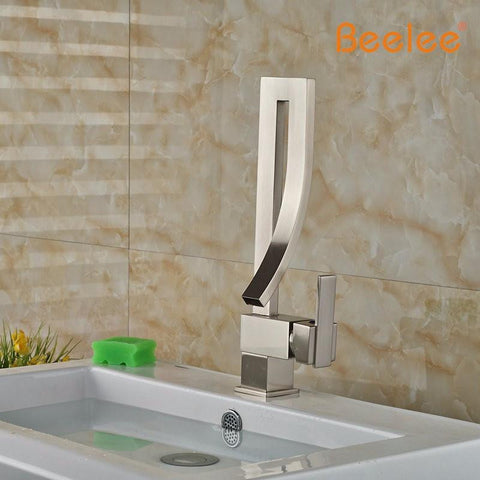 Brushed Nickel Modern Unique Curved Faucet