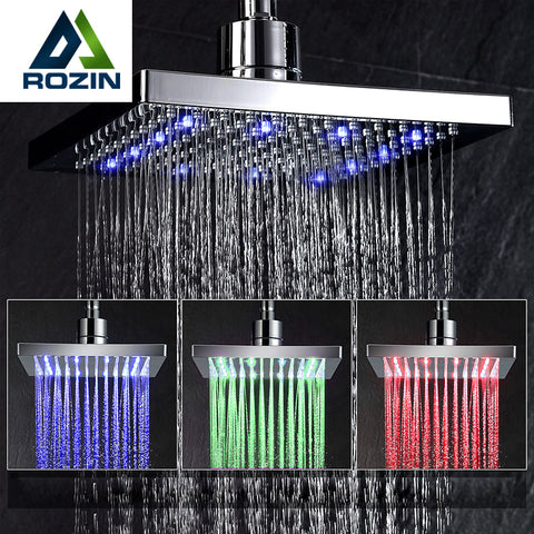 Free Shipping Wholesale And Retail LED Color Changing Rainfall Shower Head Rectangular Waterfall Shower Head