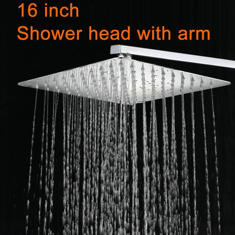 "16"" Rainfall shower head with wall mounted arm"