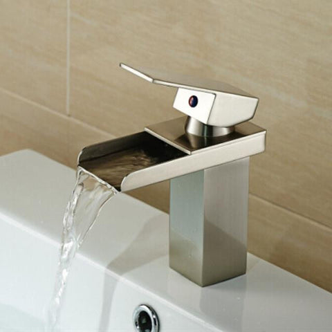 waterfall faucet brushed nickel