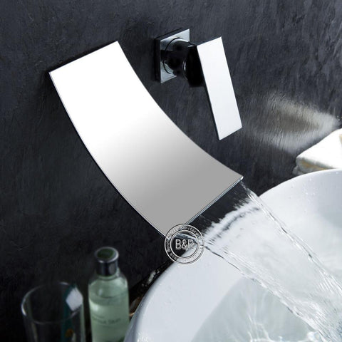 very thin sleek chrome waterfall faucet
