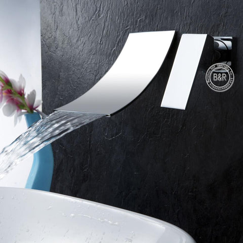 very thin waterfall faucet chrome sleek