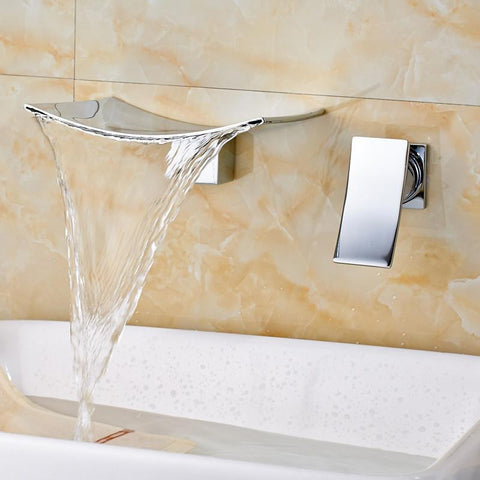 wall mounted waterfall bathtub faucet