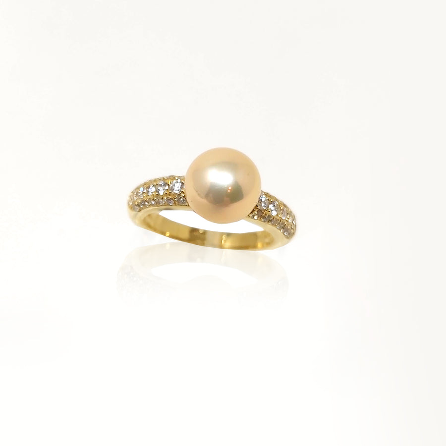 Diamond Cultured Pearl Solitaire