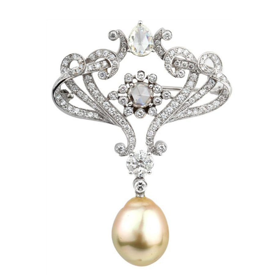 Golden Drop Cultured Pearl Brooch { GET A QUOTE}
