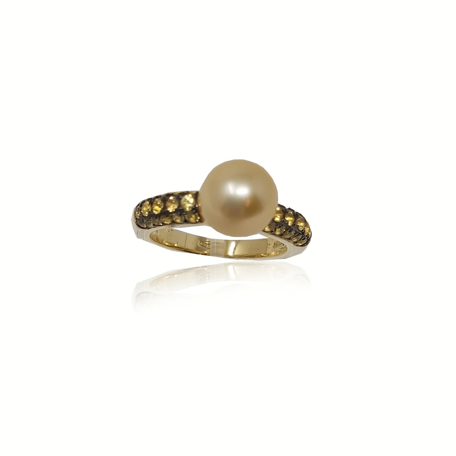Yellow Sapphire Cultured Pearl Solitaire
