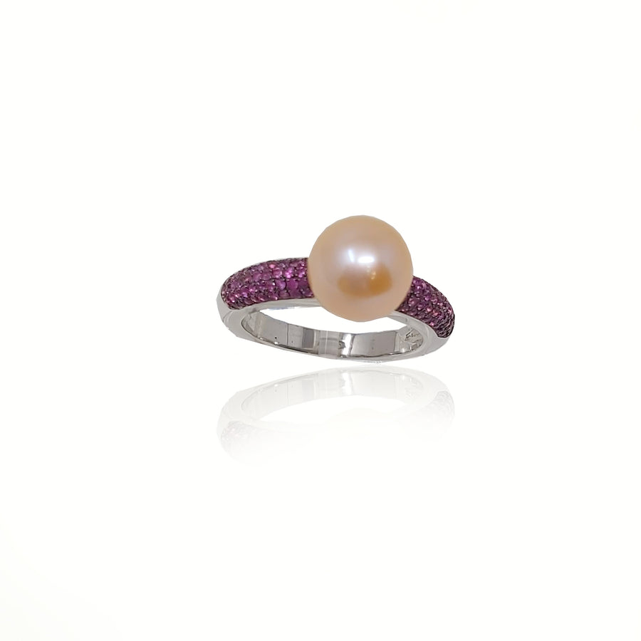Pink Sapphire Cultured Pearl Solitaire Ring