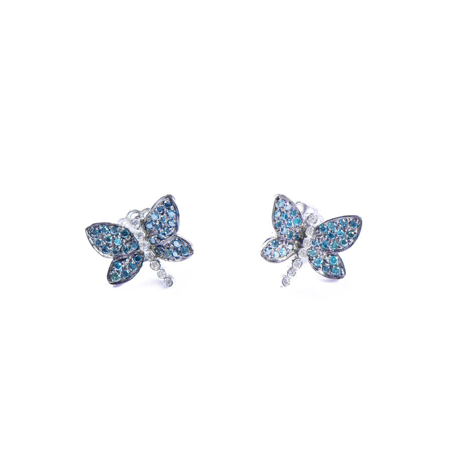 BLUE DIAMOND BUTTERFLY EARRINGS