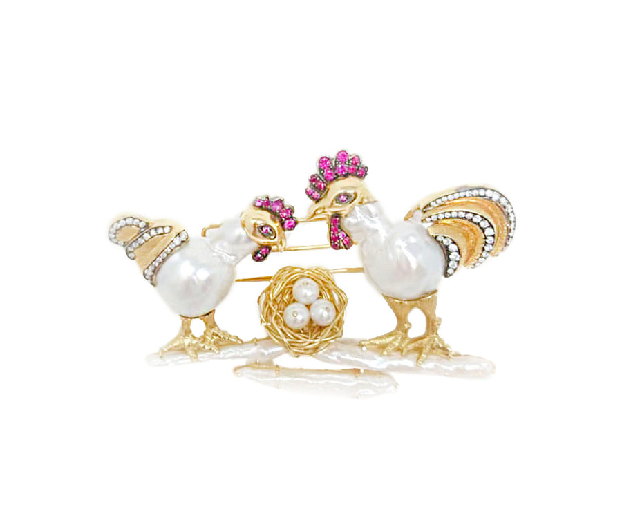 Rooster and Hen Cultured SS Pearl Brooch [ GET A QUOTE ]