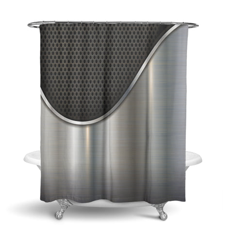 Unique Oxford Cloth Polyester Shower Curtain Of A Close Up Metallic Speaker